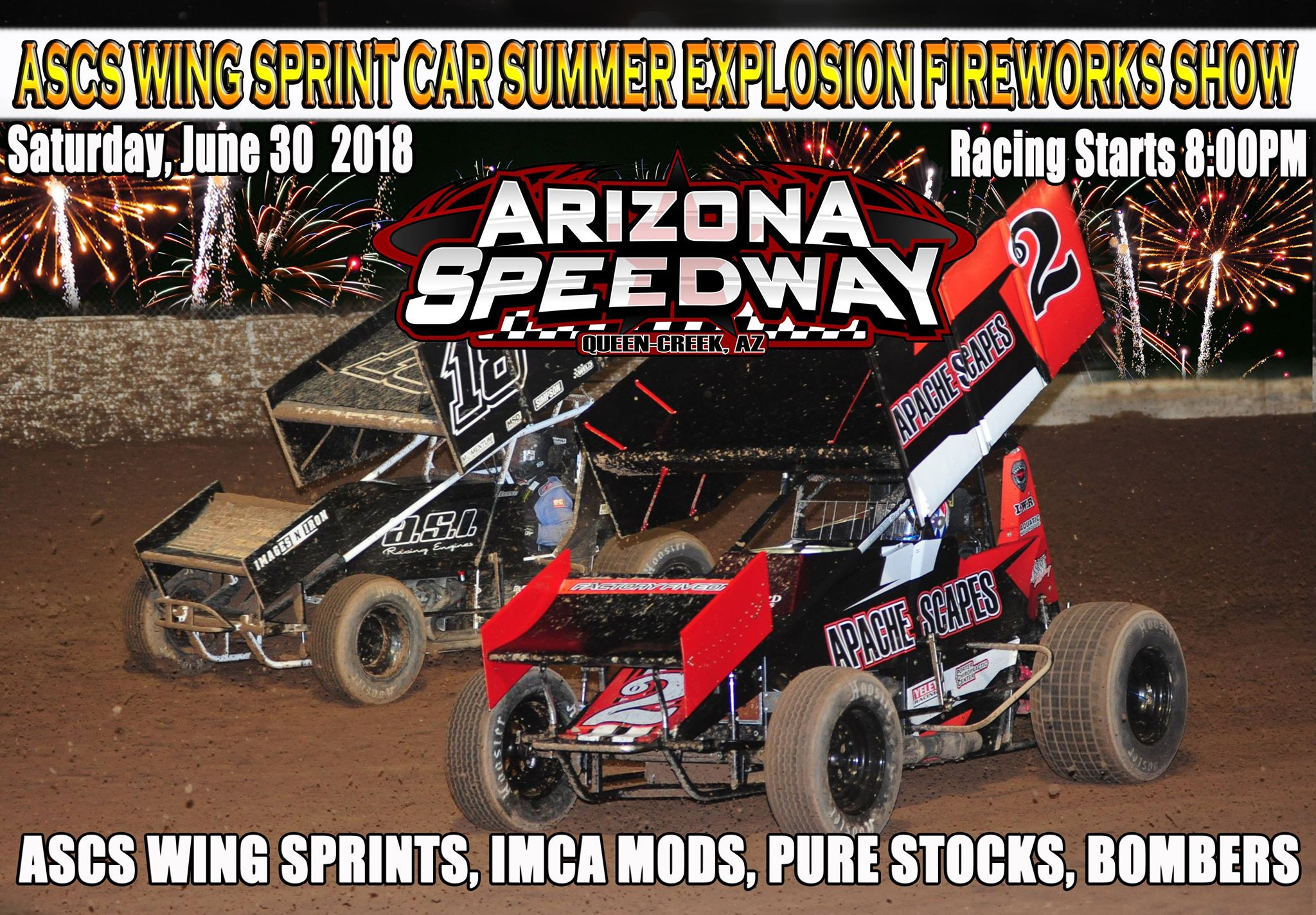 ASCS WING SPRINT CAR SUMMER EXPLOSION / FIREWORKS SHOW – Arizona